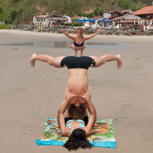 PAST EVENTS - Anusara Inspired Yoga/Thai Massage/AcroYoga Retreat - acroyoga on the beach in front of Casa del Sol