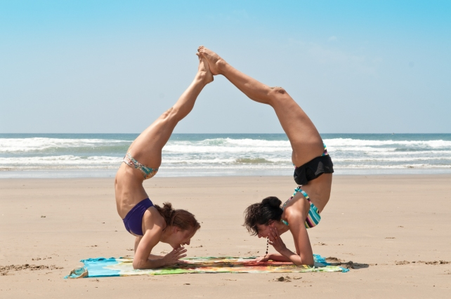 WF and VG Yoga Heart Inversion on beach
