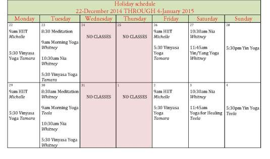 Holiday schedule 14-15